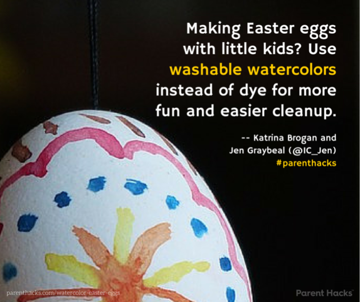 Making Easter eggs with little kids- Use watercolors instead of dye for more fun and easier cleanup. #Easter #parenthacks