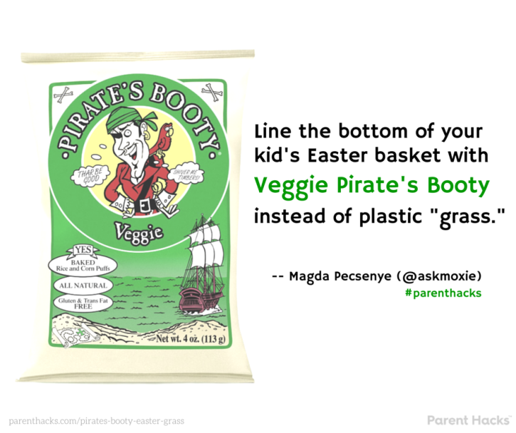Use Veggie Pirate's Booty as Easter basket -grass.- #parenthacks #Easter