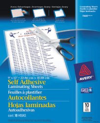 "At Amazon: Avery Self-Adhesive Laminating Sheets, 9"" x 12"", Pack of 10 (affiliate link)"