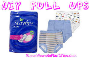 Potty training hack: cotton training pants + maxi pad = homemade training diapers
