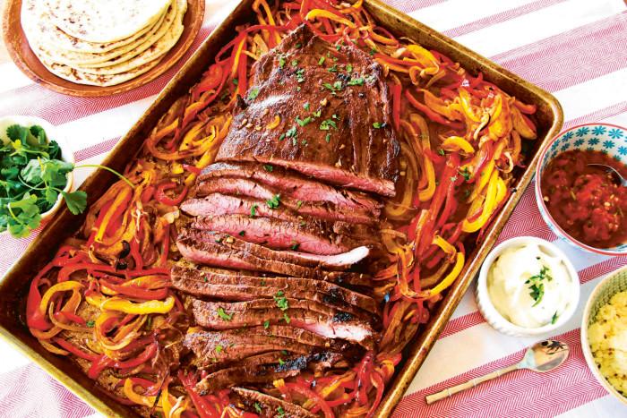 """Fajita Flank Steak from """"Sheet Pan Suppers"""""""