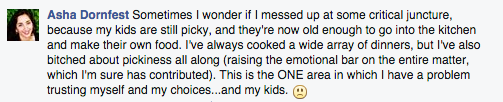 My Facebook comment about my kids' picky eating habits