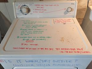 Laundry hack: Write usage instructions on the washer and dryer with dry erase markers