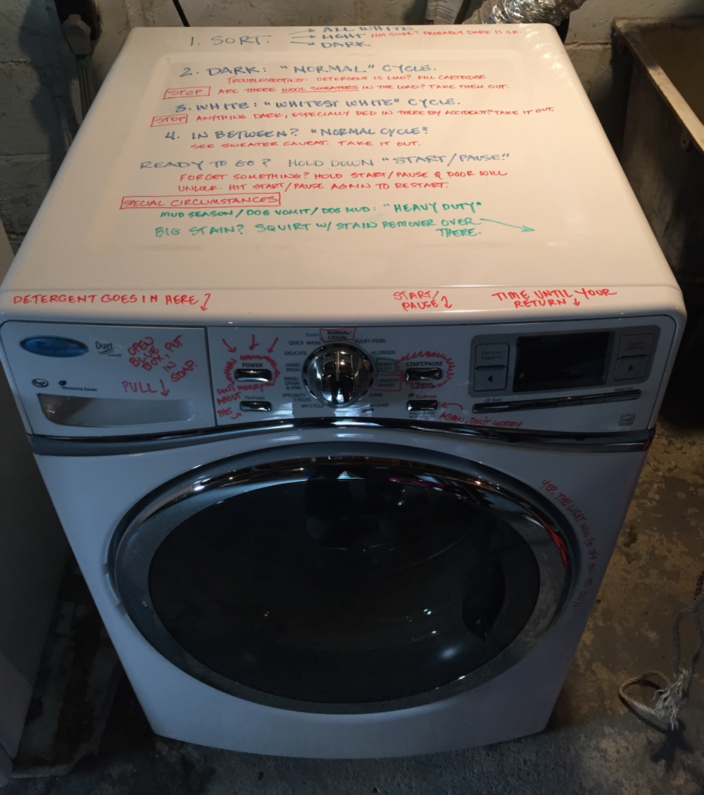 Write laundry instructions on the washer with dry erase marker. (Photo credit: Jessica Lahey, included with permission) #parenthacks