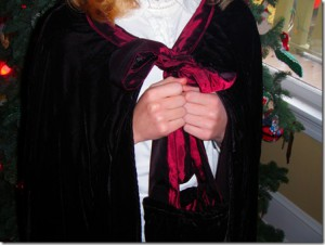 Turn a secondhand evening dress into a winter cape