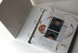 Organize school portraits in a three-ring binder