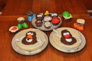 No-fuss birthday cake decoration: Mr. Potato Head parts