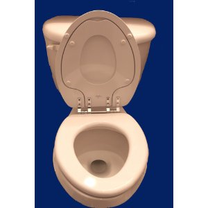 potty seat for elongated toilet.  Built in potty seat good for butts of all sizes
