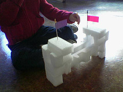Turn styrofoam package insert into a make-believe castle