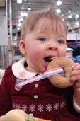 Pacifier keeper keeps bagel nearby