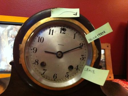 Label a clock with Post-it Notes