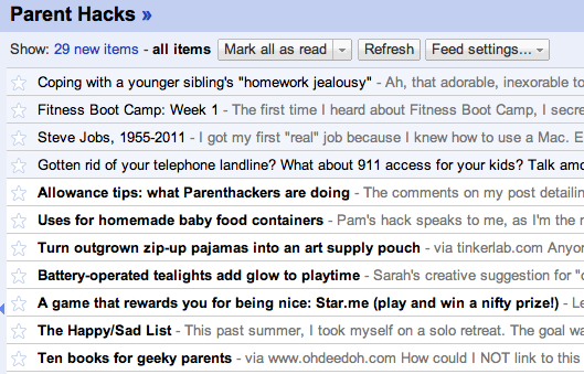 How Parent Hacks looks in Google reader