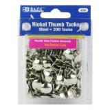 Amazon: BAZIC Nickel Thumb Tack, Silver, 200 Per Pack
