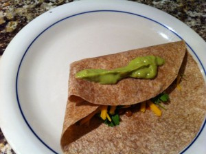 """Glue"" burritos closed with guacamole"