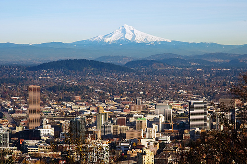 Mt. Hood rises above Portland, Oregon.