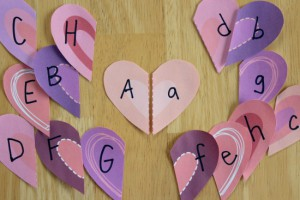 Valentine hearts letter match game