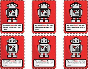 Printable Valentine cards: Robot Hearts