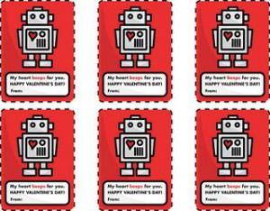 Printable Valentine cards: Robot Hearts