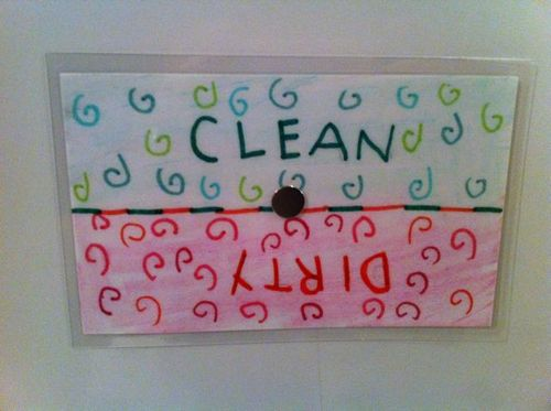 "Homemade ""Clean/Dirty"" dishwasher sign"