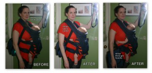 How to more comfortably carry a diaper bag AND baby carrier at the same time