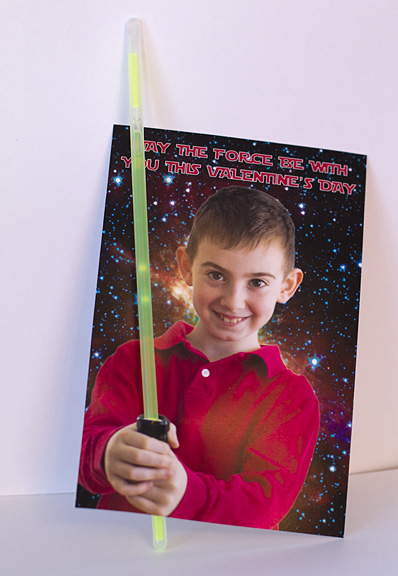 Glow stick light saber Valentine. Photo credit: Holly of Stitch/Craft