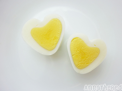 Heart-shaped hard boiled eggs. Photo credit: Anna the Red