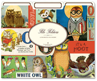 At Amazon: Cavallini File Folders (Vintage Owls), Set of 12