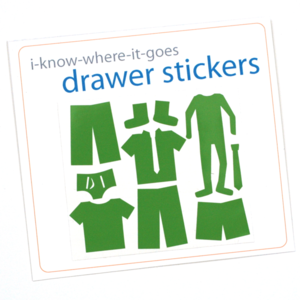 Clothing-shaped drawer labels show kids where to put away their clothes