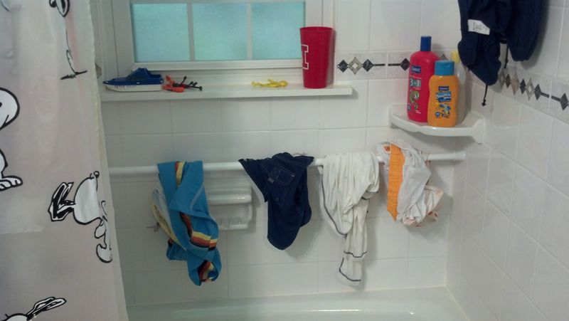 Swimsuits drip-dry in the shower
