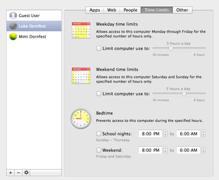 Parental Controls panel in Mac OS X