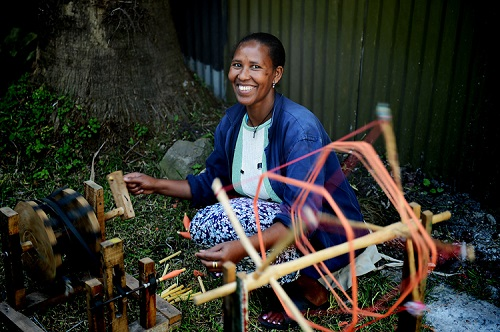 Weaving scarves in Ethiopia