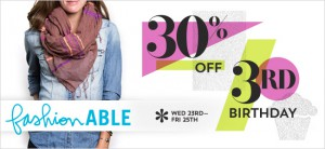 3 days only: FashionABLE scarves and leather goods 30% off