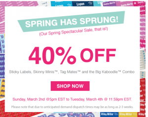 40% off selected Mabel's Labels; sale ends 3/4/14