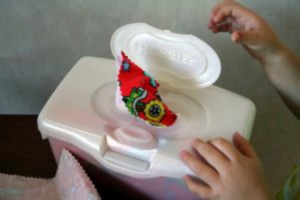 "Turn an old baby wipe box into a toddler ""tissue box"" toy"
