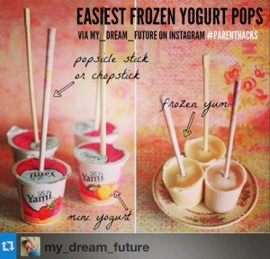 Easiest frozen yogurt pops: mini yogurt + Popsicle stick