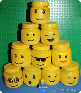 Turn baby food jars into LEGO storage